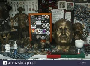 A Fascist souvenir shop in Mussolini's hometown of Predappio, Italy