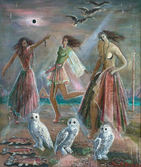 Juanita Guccione, Three Women and Three Owls