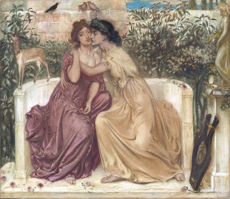 Sappho and Erinna in a Garden at Mytilene by Simeon Solomon, 1864