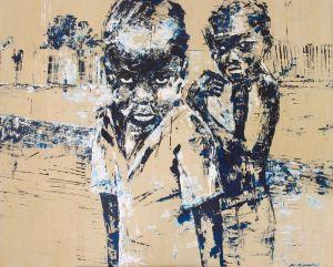 Children Of Apartheid - Painting by Michaela Rinaldi